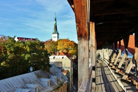 Walking Town Walls at Hellemann Tower in Tallinn, Estonia