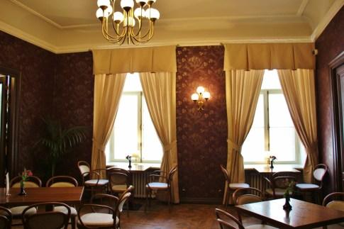 Elegant upstairs room at Maiasmokk Cafe in Tallinn, Estonia
