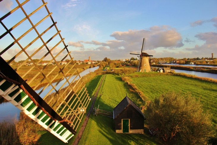 Looking out a window inside a Kinderdijk Windmill, The Netherlands