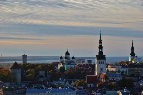 Sunset view on Tallinn skylin from Lounge 24 at Radisson Blu in Tallinn, Estonia