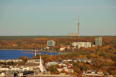 View of Tallinn TV Tower from Lounge24 at Radisson Blu in Tallinn, Estonia