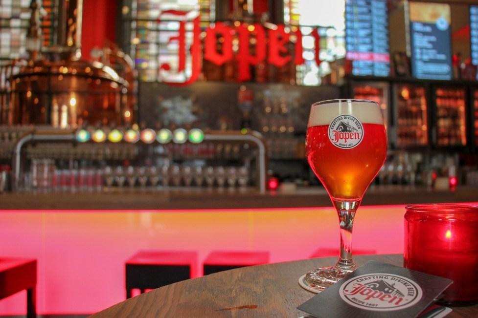 Glass of craft beer at Jopenkerk, Jopen Brewery, in Haarlem, Netherlands