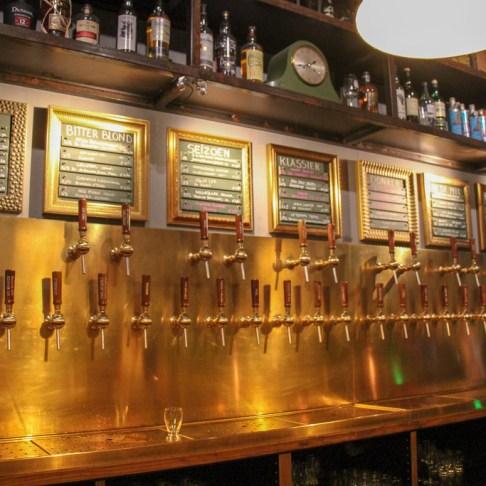 Beer taps at Bierlokaal de Uiver in Haarlem, Netherlands