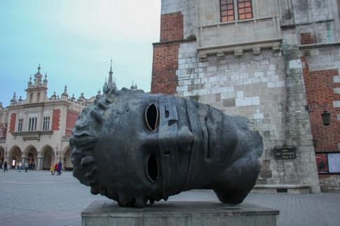 The Head, Eros Bendato, sculpture on Main Square in Krakow, Poland
