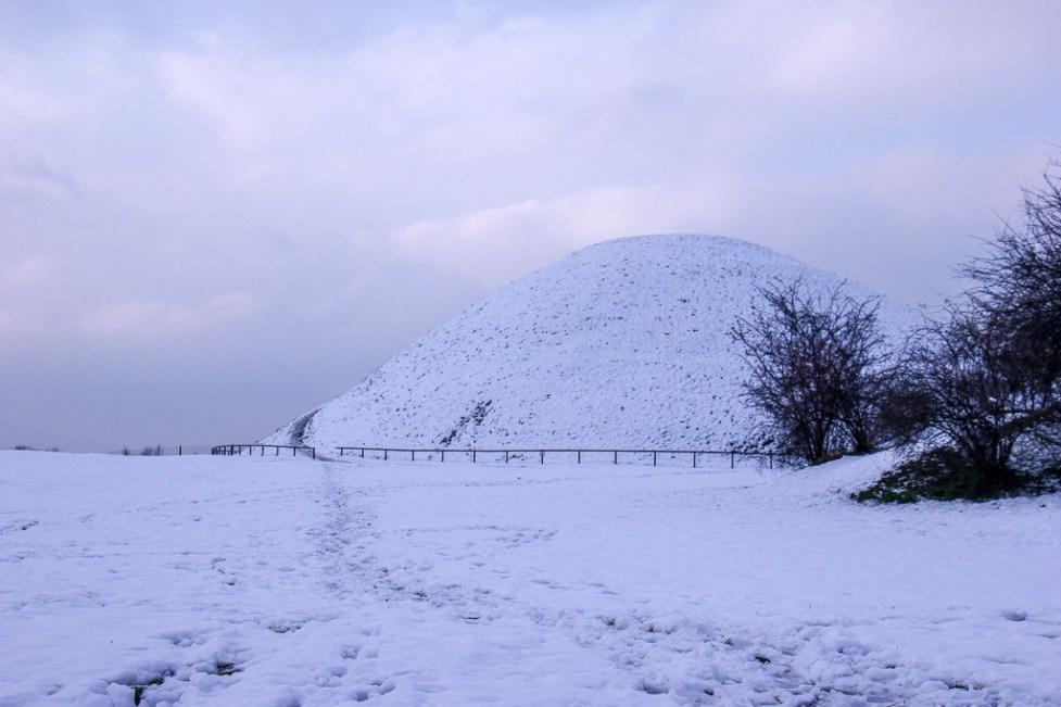 Snow-covered Krakus Mount in Podgorze District in Krakow, Poland