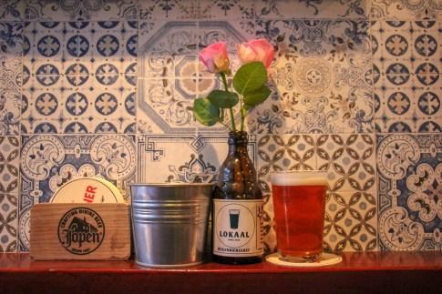 Drinking local craft beer in Haarlem, Netherlands