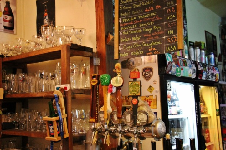 Taps at Only Good Beer Craft Beer shop and bar in Budapest, Hungary