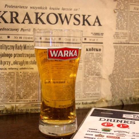 Beer at Pijalnia Wodki I Piwa bar in Kazimierz District in Krakow, Poland