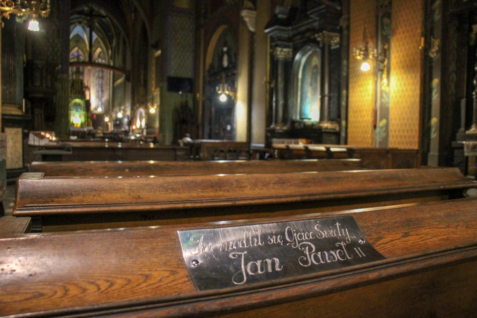 Plaque for Pope John Paul II at St. Francis of Assisi Church in Krakow, Poland