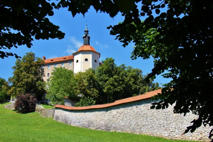 City wall and Skofja Loka Castle in Skofja Loka, Slovenia