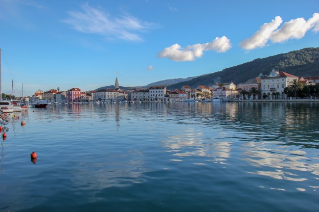 Stari Grad Old Town across the bay on Hvar Island, Croatia