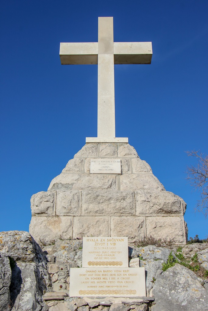 Large white cross on Glavica Hill in Stari Grad on Hvar Island, Croatia
