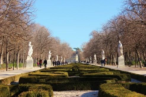 Statue-lined walkway in Retiro Park in Madrid, Spain