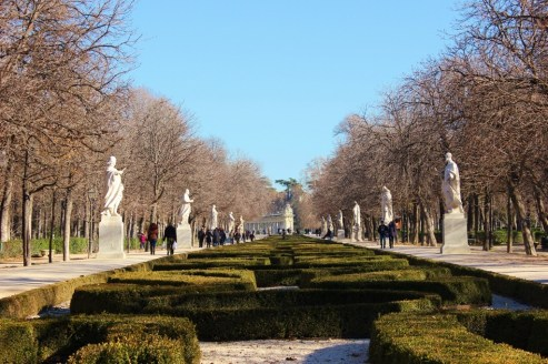 Statue-lined walkway in Retiro Park in Madrid, Spain