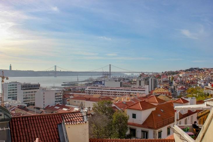 View from Miradouro de Santa Catarina Lisboa in Lisbon, Portugal
