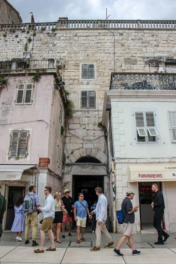 Bronze Gate entrance to Diocletian's Palace Basement in Split, Croatia