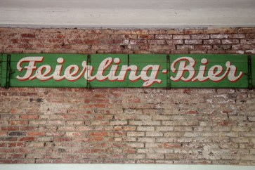 Feierling Bier Sign in Biergarten in Freiburg, Germany