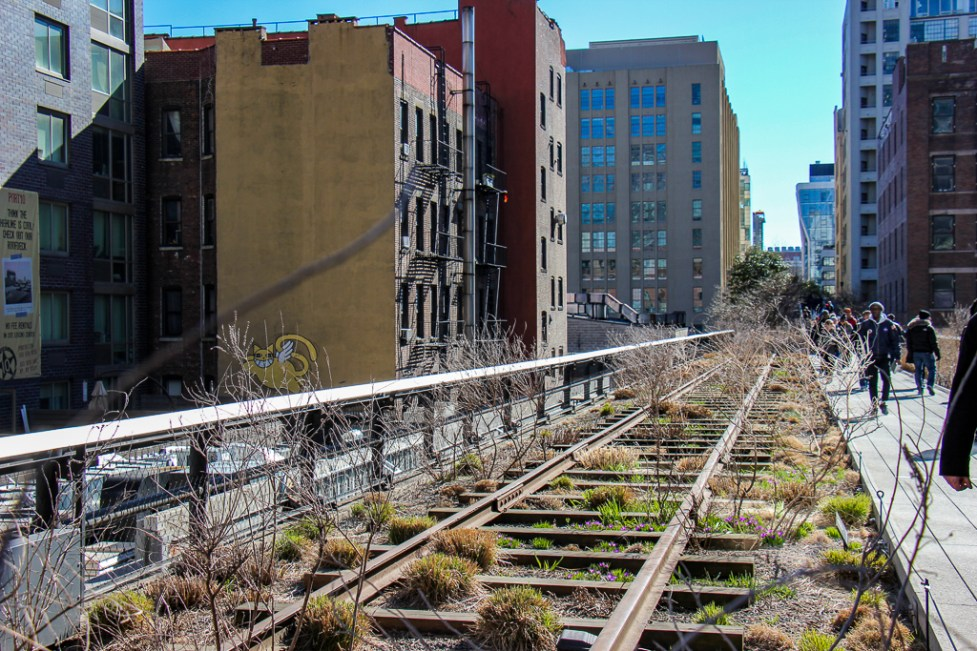 Old Railroad tracks in High Line Park in New York City, New York