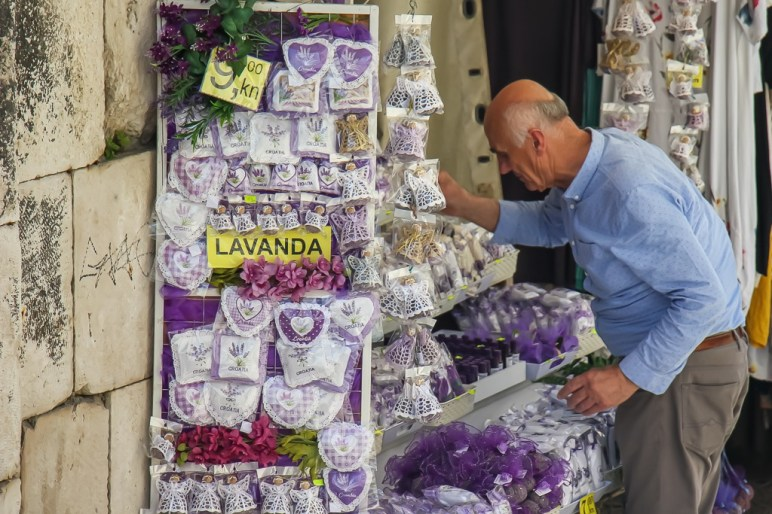 A Kind Man sells lavender products inside Silver Gate in Diocletian's Palace in Split, Croatia