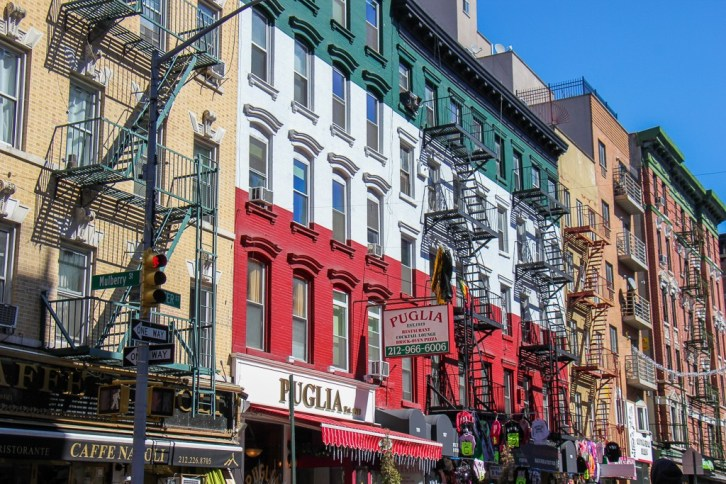 Painted building in Little Italy in New York City, New York