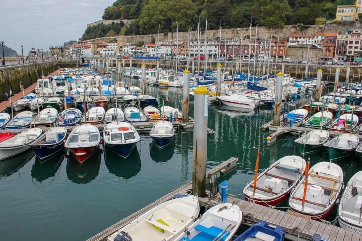 Boats in the marina in San Sebastian, Spain