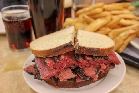 Famous Pastrami on Rye sandwich at Katz's Deli in New York City, New York