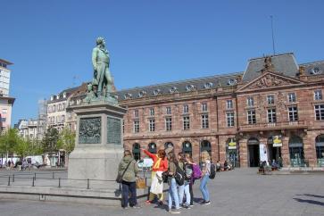 Statue of Kleber and Aubette Building on Kleber Square in Strasbourg, France