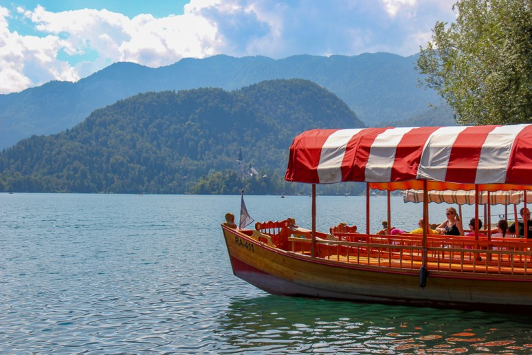 Wooden Pletna Boat on Lake Bled in Slovenia