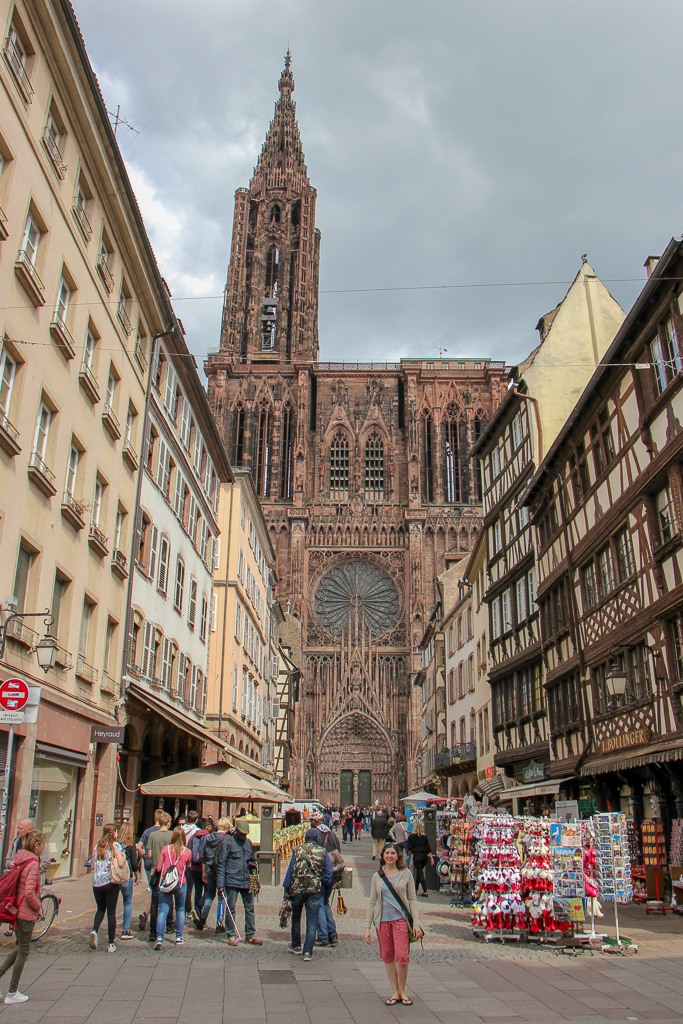 Rue Merciere leading to Strasbourg Cathedral in Strasbourg, France