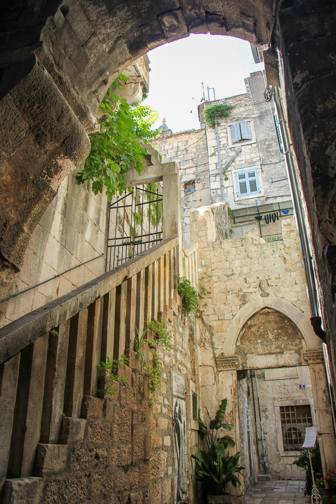 Walking up the Stairs leading to second floor inside Diocletian's Palace in Split, Croatia