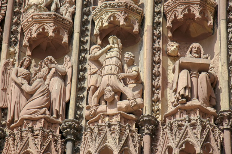 Detailed stone carvings on Cathedral facade in Strasbourg, France