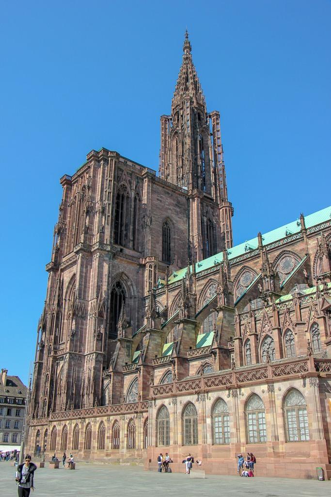 Soaring spire of Strasbourg Cathedral in Strasbourg, France