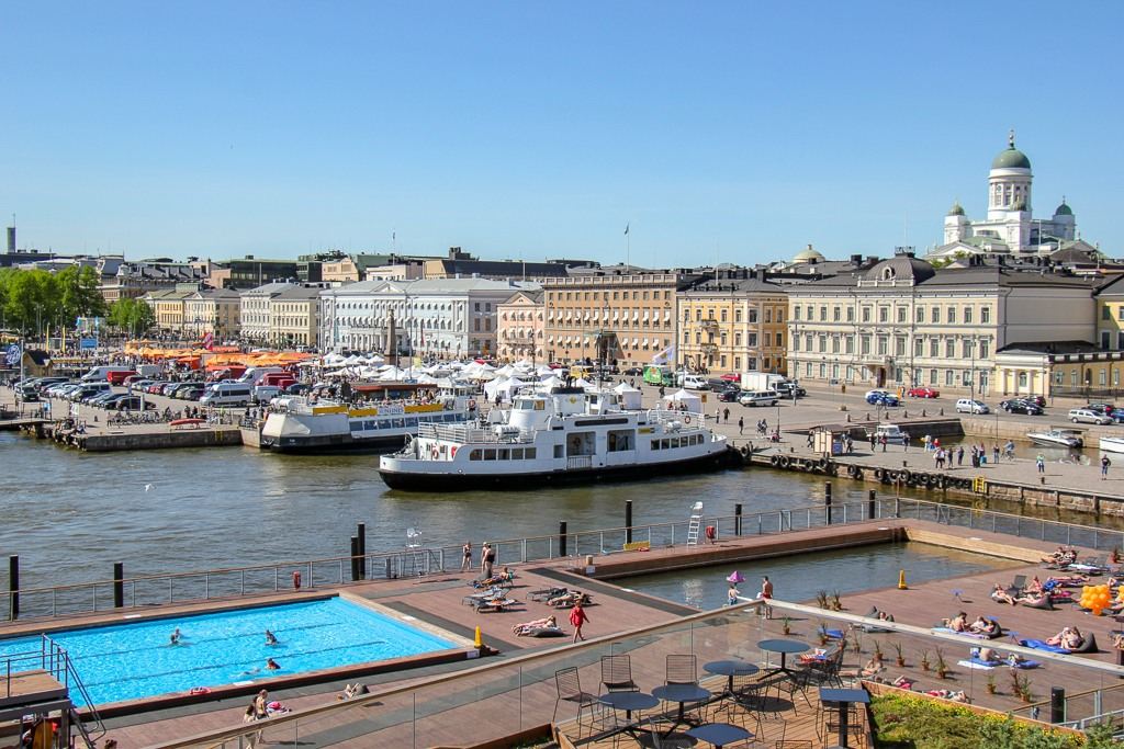 View of Allas Sea Pool and Harbor from terrace in Helsinki, Finland