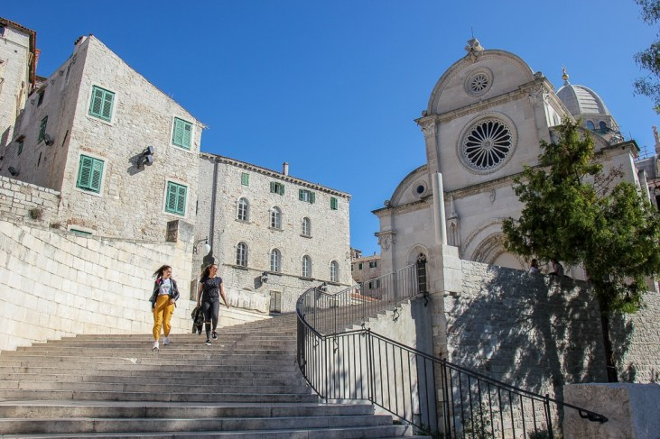 Stairs leading up to Cathedral of Saint James, Sibenik, Croatia