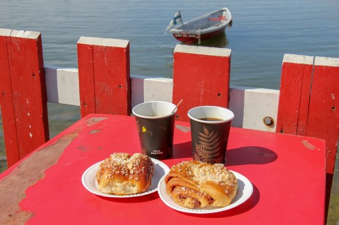 Filter coffee and cinnamon buns at classic Regatta Cafe in Helsinki, Finland