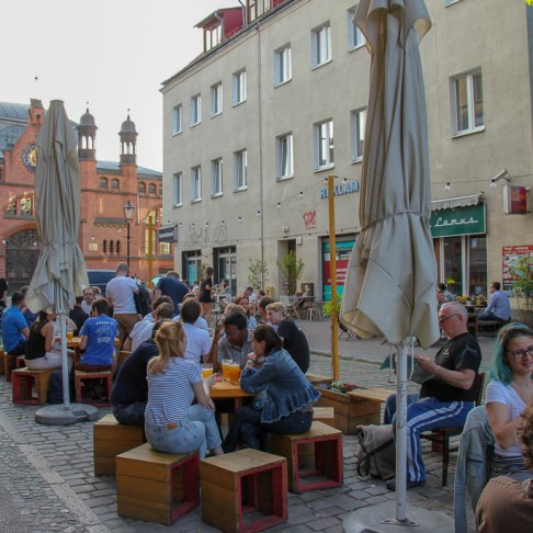 Outdoor seating at 'Craft Beer Corner' in Gdansk, Poland