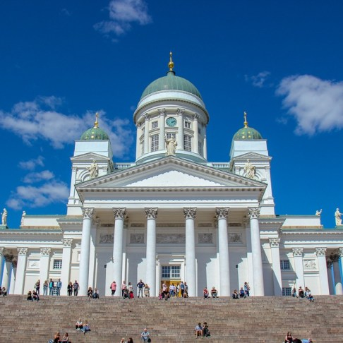 The grand Helsinki Cathedral on Senate Square in Helsinki, Finland