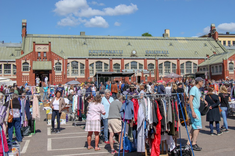 Flea Market outside Hietalahti Market Hall in Helsinki, Finland
