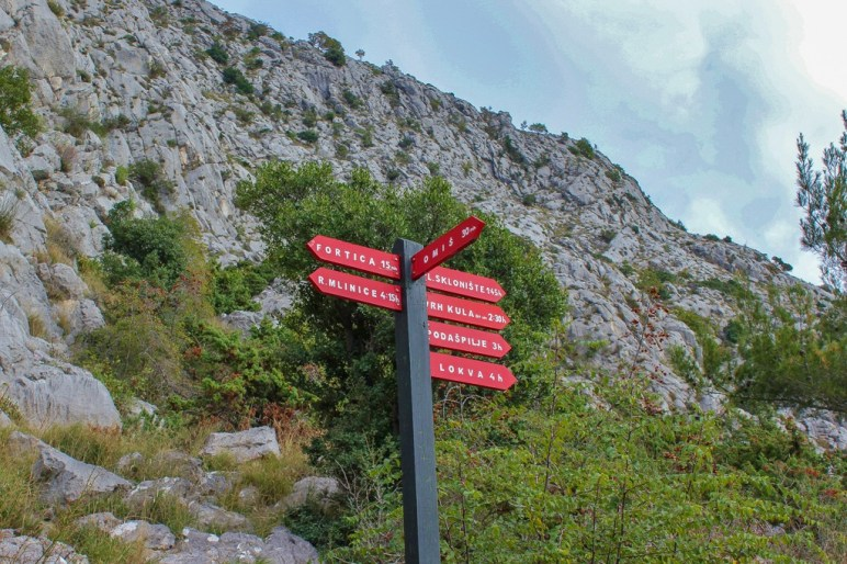 Sign post directions above Omis, Croatia