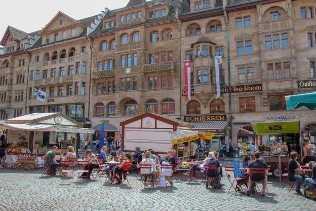 Outdoor dining on Marktplatz in Basel, Switzerland