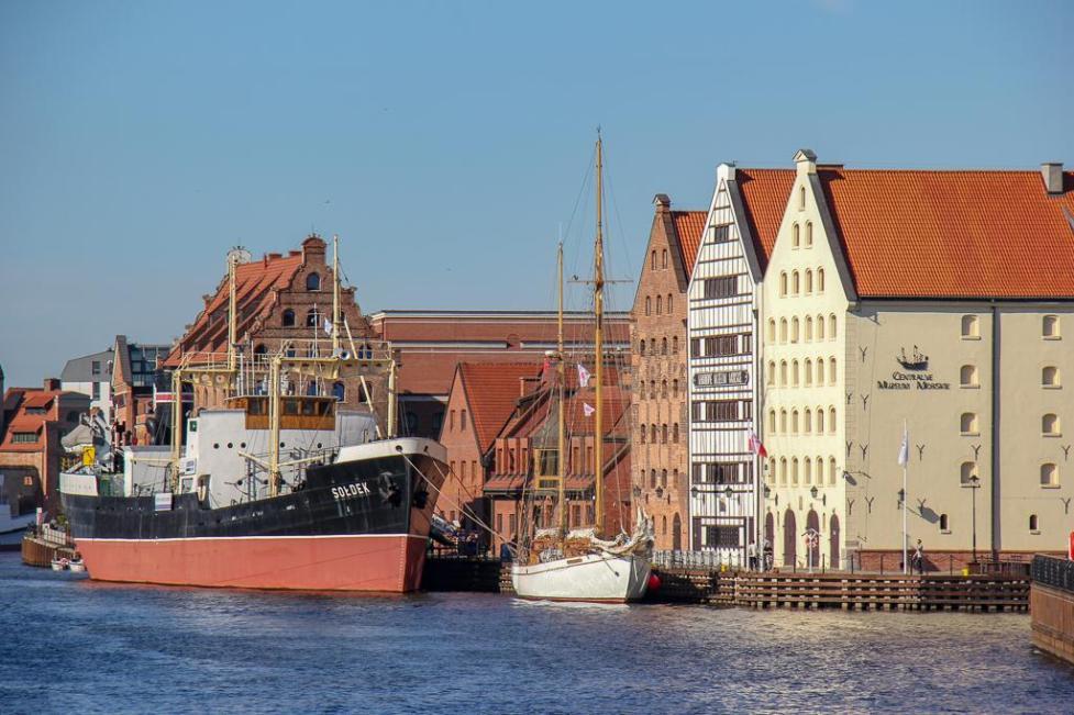 Soldek ship docked on Olowianka Island by Maritime Museum in Gdansk, Poland