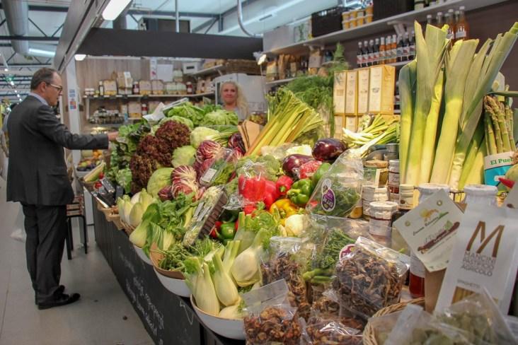 Fresh produce for sale at Hakaniemi Market Hall in Helsinki, Finland