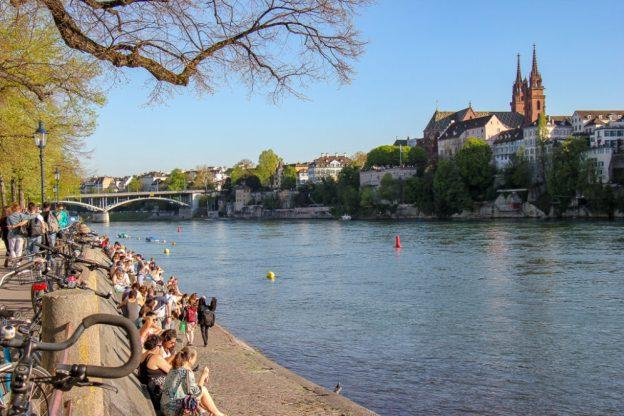 Rhine River at sunset in Basel, Switzerland