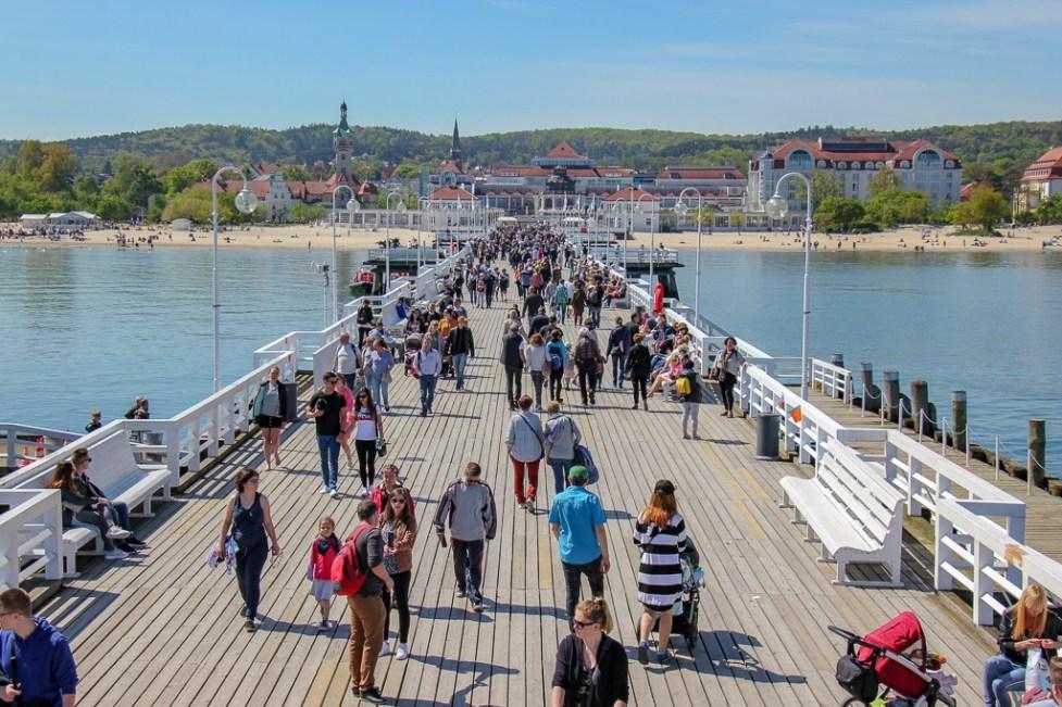 Long, wooden pier, Sopot Molo, in Sopot, Poland