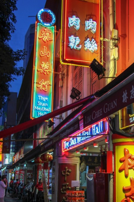 Neon signs in Chinatown Singapore