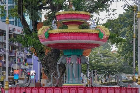 Colorful elephant fountain in Little India in Brickfields Kuala Lumpur, Malaysia