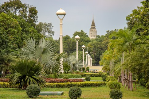 Park on Daun Penh Avenue in Phnom Penh, Cambodia