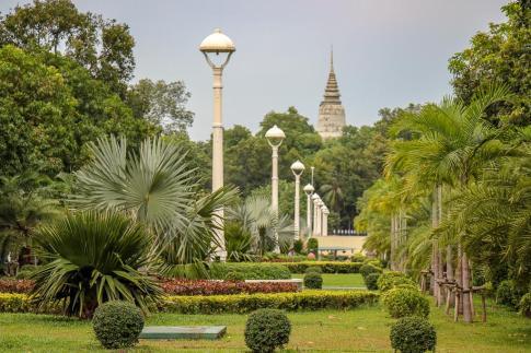 Park on Daun Penh Avenue in Phnom Penh, Cambodia