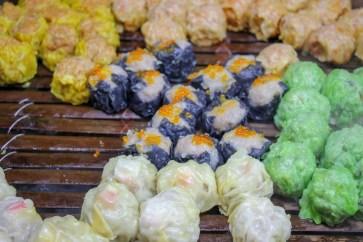 Dim Sum dumplings from vendor at Jalan Alor Food Market in Kuala Lumpur, Malaysia