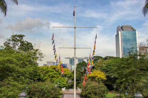 Flags flying in Fort Canning Park in Downtown Singapore